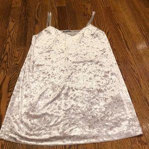 Zara Crushed Velour Slip Dress